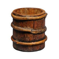Large Tibetan Wood Milk Bucket