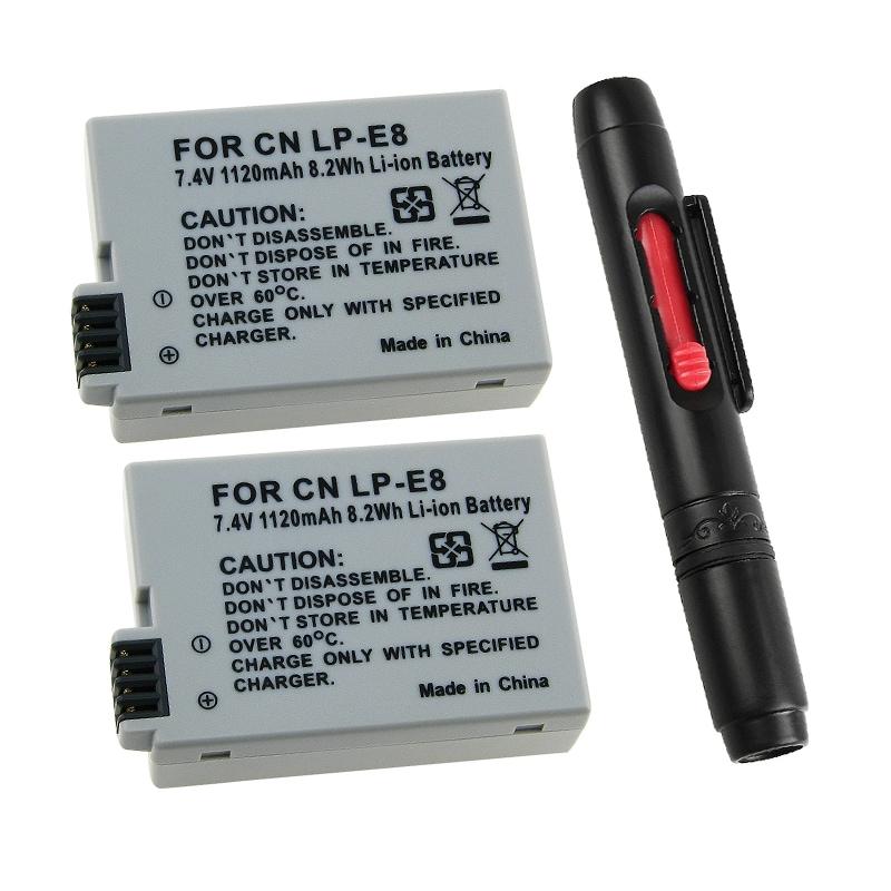 INSTEN Two Batteries/ Camera Lens Cleaning Pen for Canon LP-E8 T2i SLR Rebel