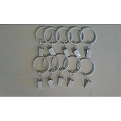 Children's Drapery Pole White Clip Rings (Set of 10)