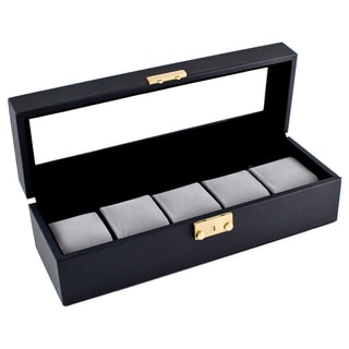 Classic Black Leatherette Glass Top Watch Case Display Box