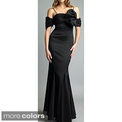Issue New York Black Off-the-shoulder Bow Accent Taffeta Gown