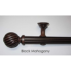 Black Mahogany 8-Foot Pole Set with Fluted Finials