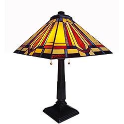 Tiffany-style Chloe Mission Design Antique-bronze 2-light Table Lamp