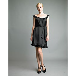 Issue New York Women's Black Flutter-sleeve Ruffle Hem Dress