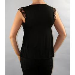 Institute Liberal Women's Black Lace Shoulder Yoke Blouse