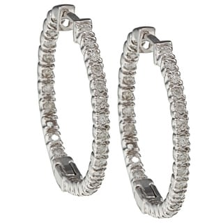 Auriya 14k White Gold 1/2ct TDW Diamond 23MM Hoop Earrings (I-J, I2-I3)