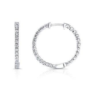 Auriya 14k White Gold 1/2ct TDW Diamond 23MM Hoop Earrings (I-J, I2-I3)
