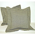 Green Flanged Ticking Stripe Pillow (Set of 2)