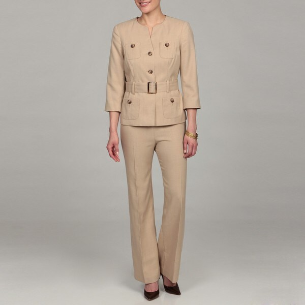 J Rose Women's Khaki Quarter-sleeve Belted Jacket Pant Suit