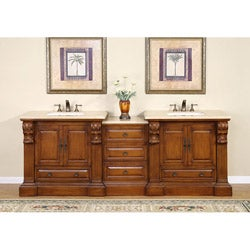 Silkroad Exclusive 95-inch Travertine Stone Top Bathroom Double Vanity