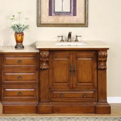 Silkroad Exclusive 58-inch Travertine Stone Top Single Vanity