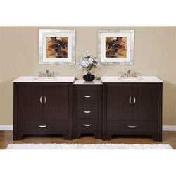 Silkroad Exclusive 89-inch Marble Top Double Vanity