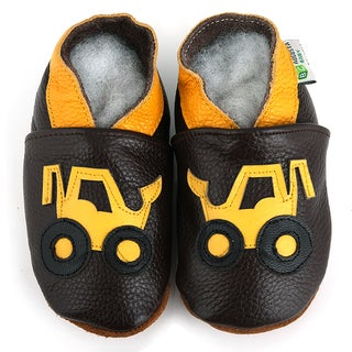 Yellow Truck Soft Sole Leather Baby Shoes