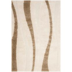 Ultimate Cream/Dark Brown Indoor Shag Rug (8'6 x 12')