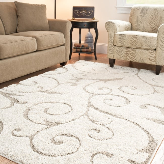 Safavieh ultimate cream beige shag area rug 8 39 6 x 12 for Living room rugs 9x12