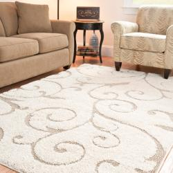 "Ultimate Cream/Beige Shag Area Rug (8'6"" x 12')"