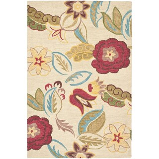Handmade Blossom Paisley Beige Wool Rug (4' x 6')
