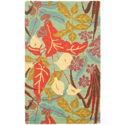 Handmade Blossom Blue Wool Rug (3' x 5')