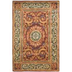 Safavieh Handmade Aubusson Bonnelles Red/ Beige Wool Rug (4' x 6')