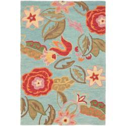 Safavieh Handmade Blossom Blue Wool Area Rug (4' x 6')