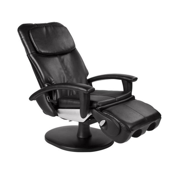 Black Quad Roller Swivel Base Human Touch Massage Chair (Refurbished)