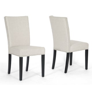 Harrowgate Beige Linen Modern Dining Chairs (Set of 2)