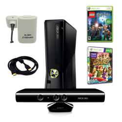 XBOX 360 Slim 4GB Kinect Super Bundle with 2 Games, Charger, and More