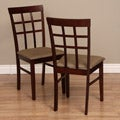 Warehouse of Tiffany Justin Light-Cappucino Dining Chairs with Latte Fabric-Covered Seat (Set of Two)