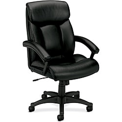 basyx by HON Black Executive Padded Arms High-back Leather Chair