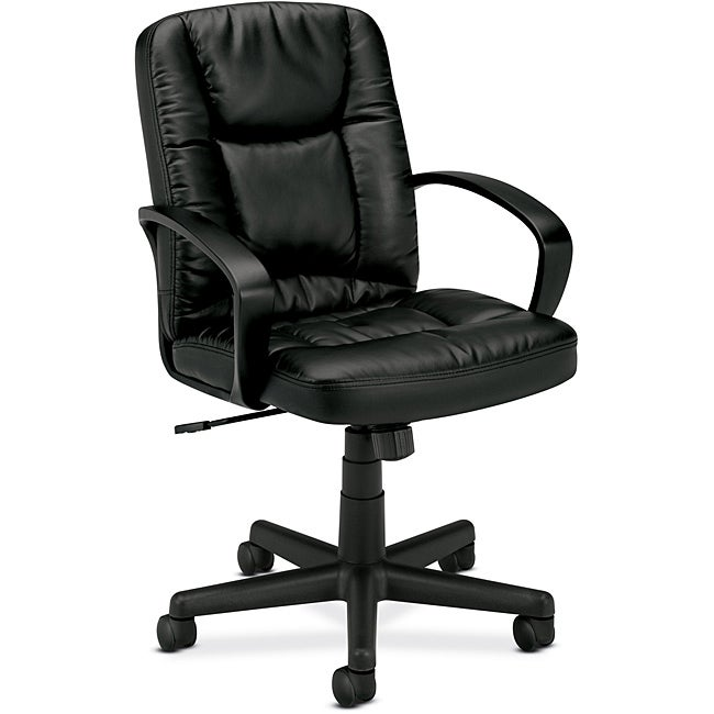 Basyx By HON Black Leather Executive Mid Back Swivel Office Chair