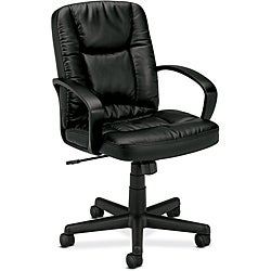 basyx by HON Black Leather Executive Mid-back Swivel Office Chair