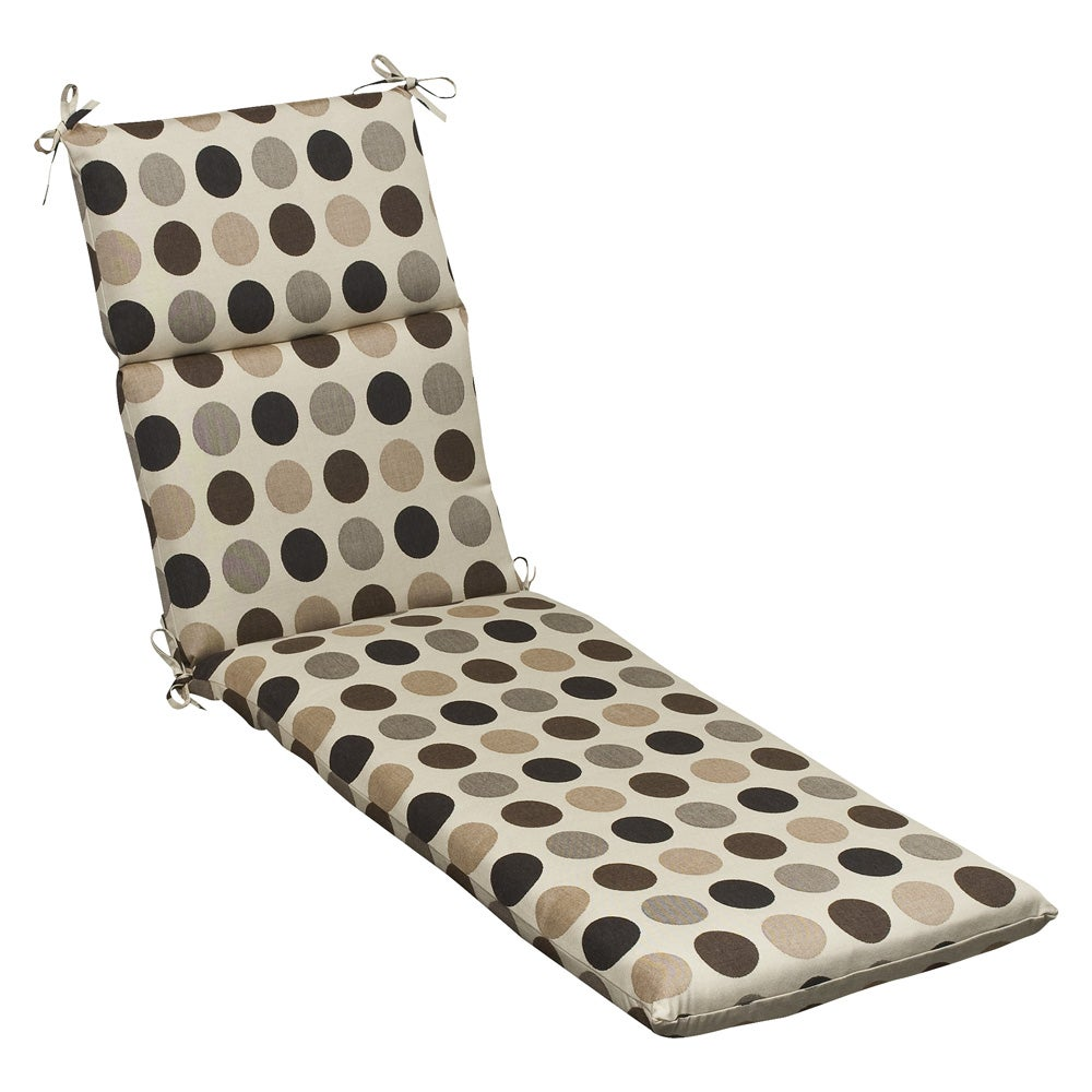 Pillow Perfect Outdoor Brown/ Beige Polka Dot Chaise Lounge Cushion with Sunbrella Fabric at Sears.com