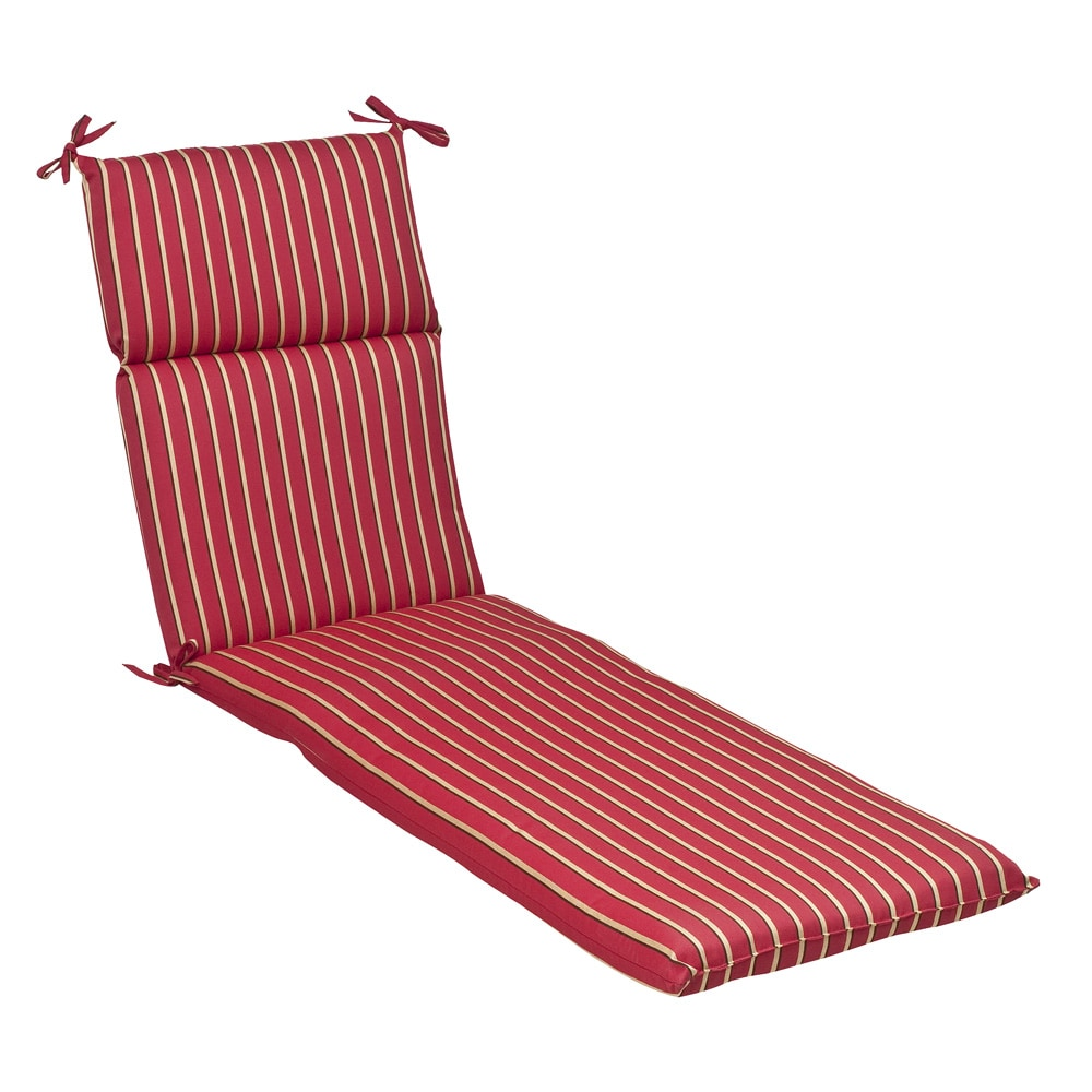 Pillow perfect outdoor red gold striped chaise lounge for Black and white striped chaise lounge cushions