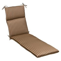 Pillow Perfect Outdoor Brown/ Beige Striped Chaise Lounge Cushion with Sunbrella Fabric