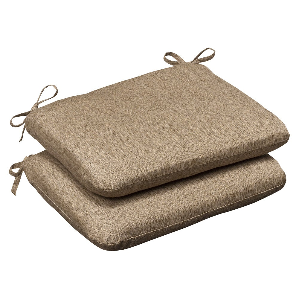 Pillow Perfect Outdoor Tan Textured Seat Cushions with