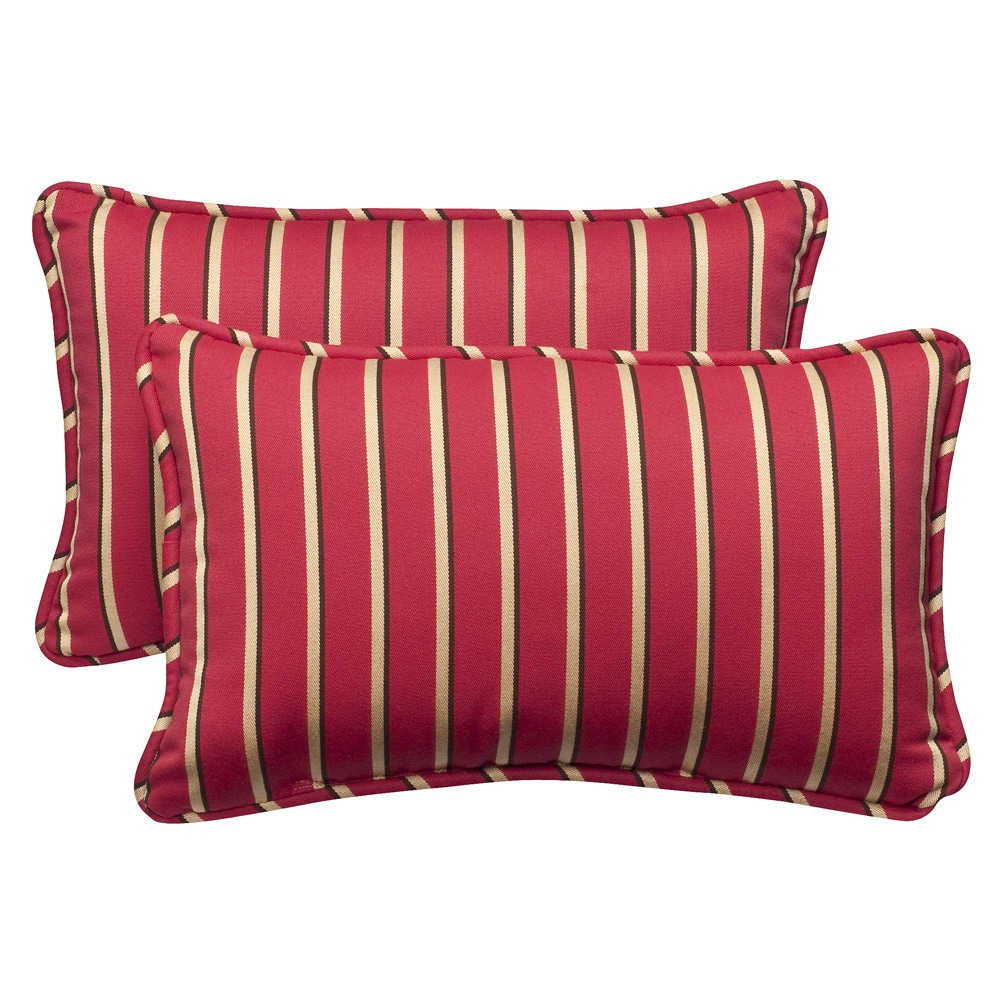 Pillow Perfect Outdoor Red Gold Striped Toss Pillows with