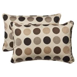 Pillow Perfect Outdoor Brown/ Beige Polka Dot Toss Pillows with Sunbrella Fabric (Set of 2)
