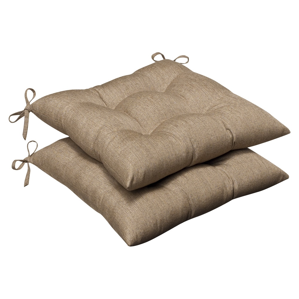 Pillow Perfect Outdoor Tan Textured Tufted Seat Cushions