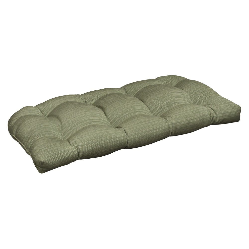 Pillow perfect outdoor green textured wicker loveseat cushion with sunbrella fabric 13945829 Loveseat cushions outdoor