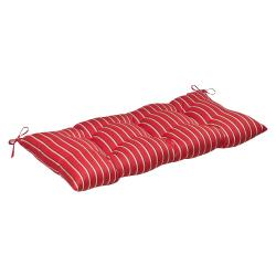 Pillow Perfect Outdoor Red/ Gold Striped Tufted Loveseat Cushion with Sunbrella Fabric