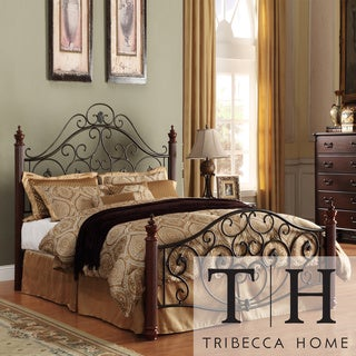 TRIBECCA HOME Madera Graceful Scroll Bronze Iron Full-size Metal Bed