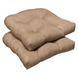 Pillow Perfect Outdoor Tan Textured Wicker Seat Cushions with Sunbrella Fabric (Set of 2)