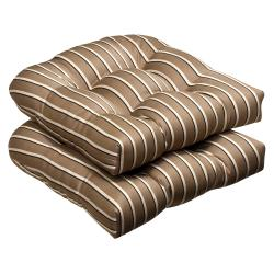 Pillow Perfect Outdoor Brown/ Beige Textured Wicker Seat Cushions with Sunbrella Fabric (Set of 2)