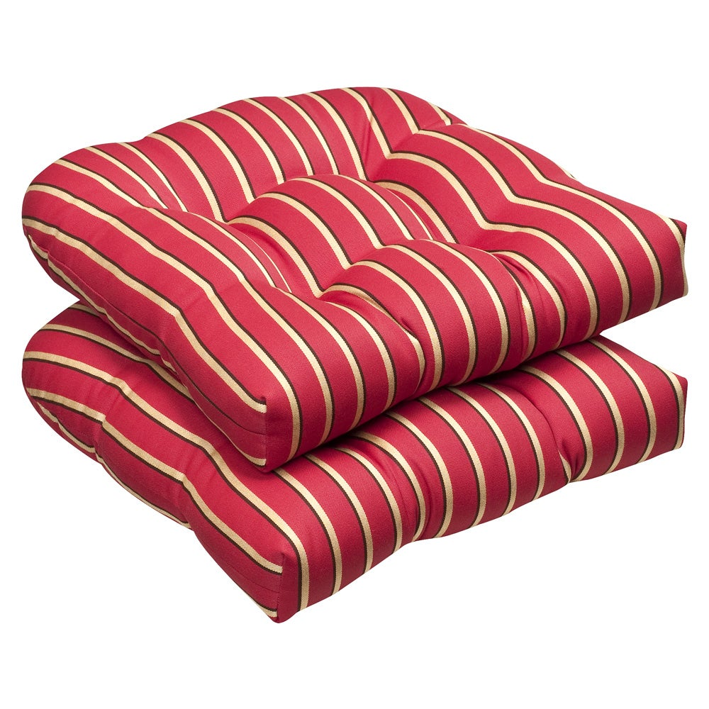 Pillow Perfect Outdoor Red Gold Striped Wicker Seat