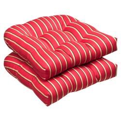 Pillow Perfect Outdoor Red/ Gold Striped Wicker Seat Cushions Sunbrella Fabric (Set of 2)