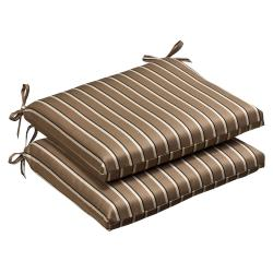 Pillow Perfect Outdoor Brown/ Beige Striped Seat Cushions with Sunbrella Fabric (Set of 2)