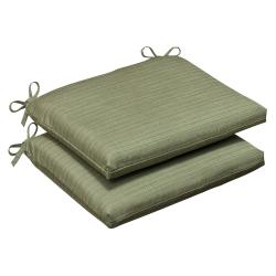 Pillow Perfect Outdoor Green Textured Seat Cushions with Sunbrella Fabric (Set of 2)