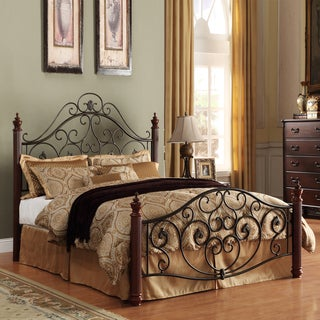 TRIBECCA HOME Madera Graceful Scroll Bronze Iron Metal King-sized Bed
