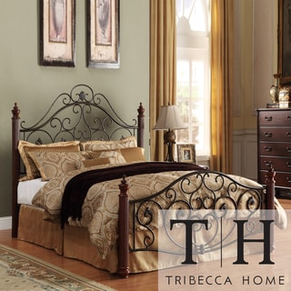 Tribecca Home Madera Graceful Scroll Bronze Iron King-size Metal Bed