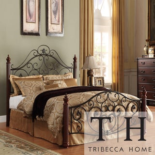 TRIBECCA HOME Madera Graceful Scroll Bronze Iron Queen-size Metal Bed